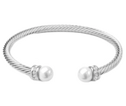 Twisted Cable Pearl and CZ Open Cuff Bangle