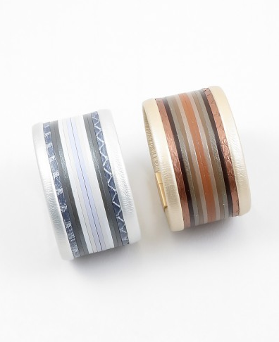 Ombre Stripe Leather Magnetic Bracelet