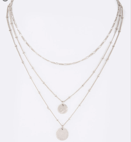 Metal Disk 3 Layer Necklace