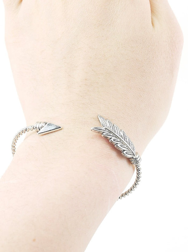 Arrow Twisted Open Cuff Bangle Bracelet