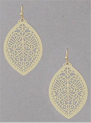 Filigree Flat Matte Metal Earring