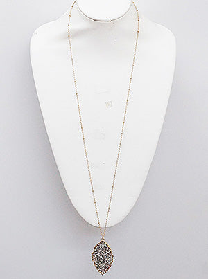 Crystal Beaded Pointed Tear Pendant Necklace