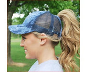Tie-Dye Ponytail Hat (Light Blue)