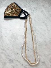 Layered Pearl & Chain Mask Necklace