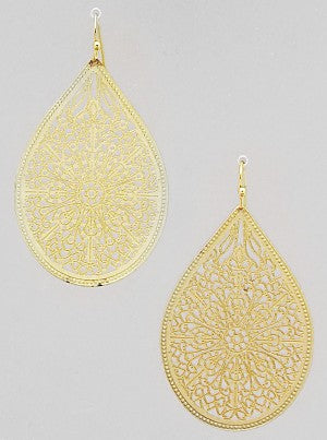 ORNATE FILIGREE DESIGN STENCILED TEAR DROP EARRING