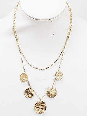MULTI ROUND METAL LAYERED NECKLACE