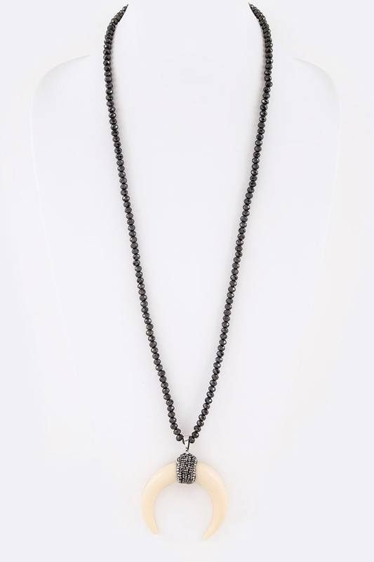 Boho Crystal Long Pendant Necklace