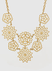 Floral Laser Cut Metal Necklace