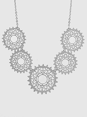 Ornate Stencil Round Metal Bib Necklace