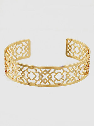Quatrefoil Stencil Open Cuff Bangle Bracelet