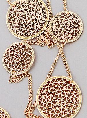 Laser Cut Circle Filigree Stations Necklace