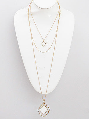Mother Of Pearl Ornate Shape 3 Layer Long Necklace