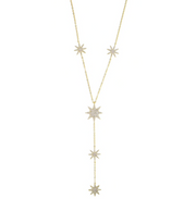 CZ Pave Starburst Y Shape Necklace