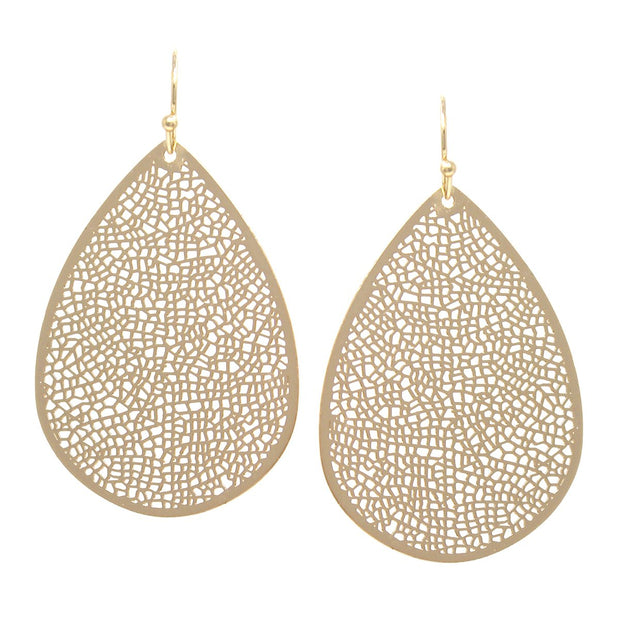 Laser Cut Teardrop Earrings