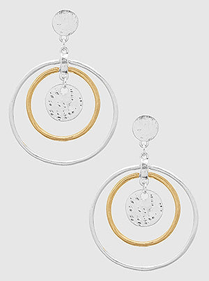 Two Tones Open Round Metal Layered Earrings