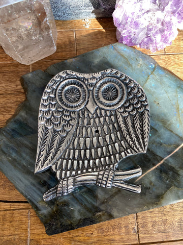 Metal Owl Incense Burner Tray