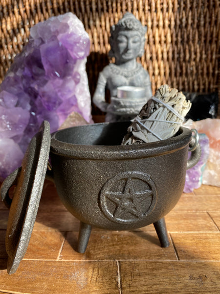 Large Triquetra Celtic Knot Cast Iron Cauldron with Sage