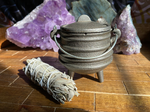 Medium Cast Iron Cauldron with Sage