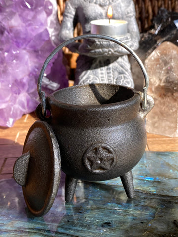 Small Pentacle Cast Iron Cauldron