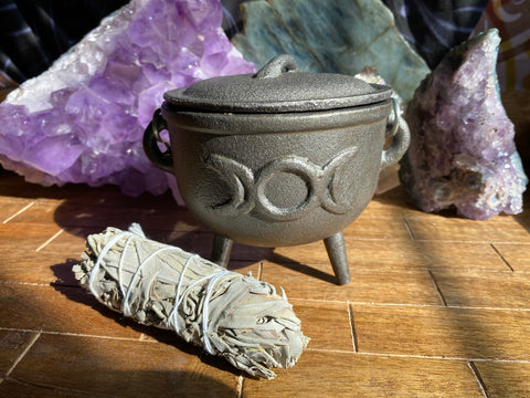 Large Triple Moon Cast Iron Cauldron with Sage
