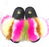 Color Block Vibrant Fox Fur Slides