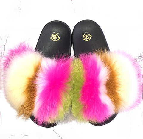 Royal Magenta Fox Fur Slides