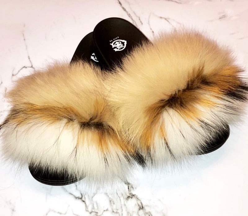 Blondie Fox Fur Slides