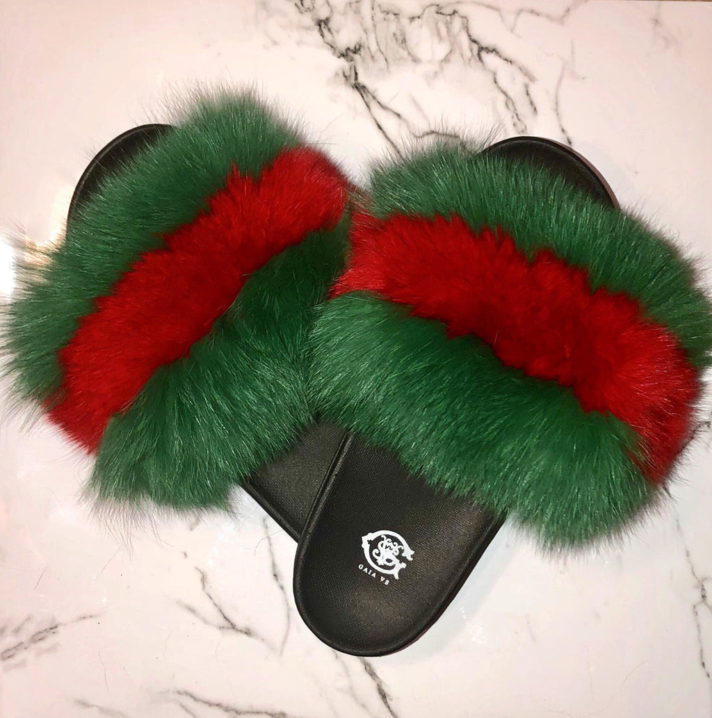GG Royal Green Fox Fur Slides
