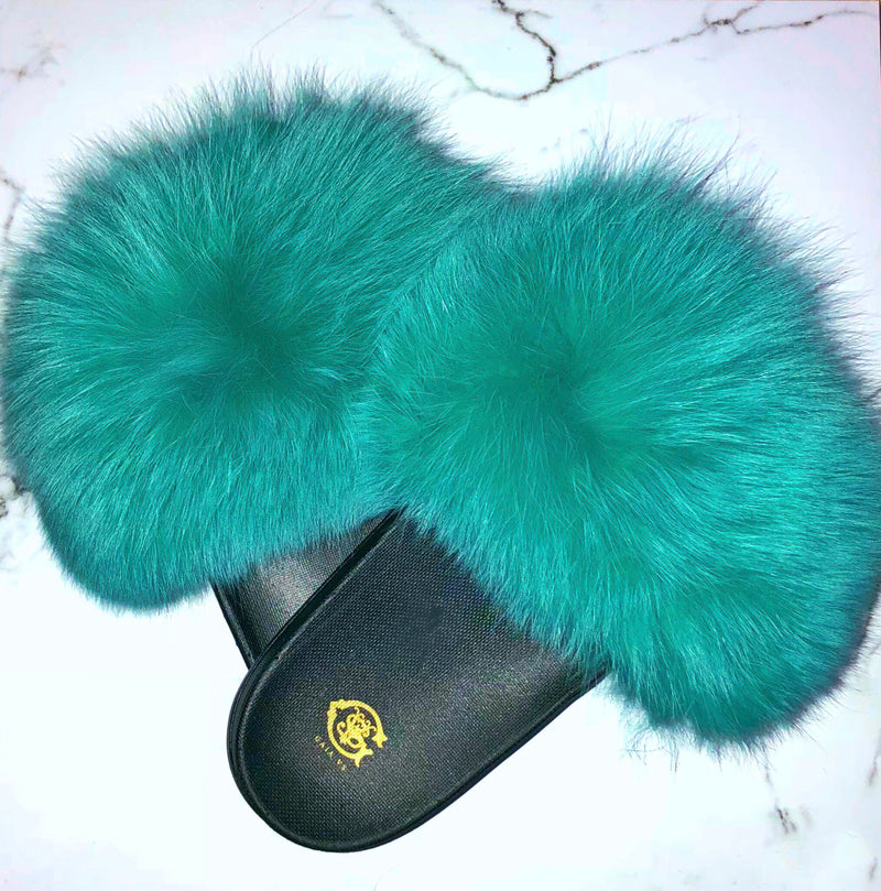 Turks & Caicos Fox Fur Slides