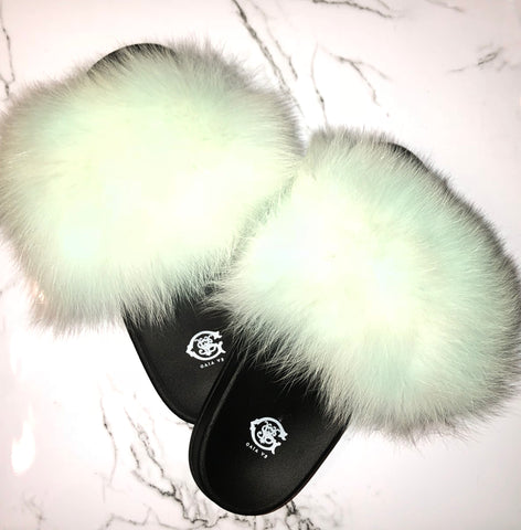 Taffy Pink Fox Fur Slides