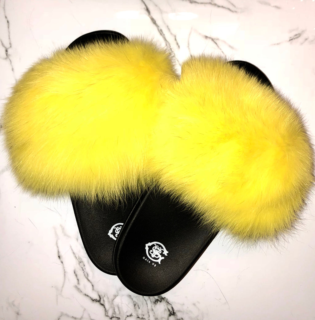 Royal Yellow Fox Fur Slides