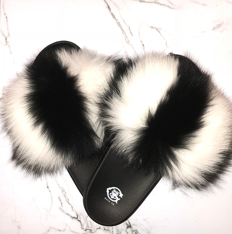 Skunk Fox Fur Slides