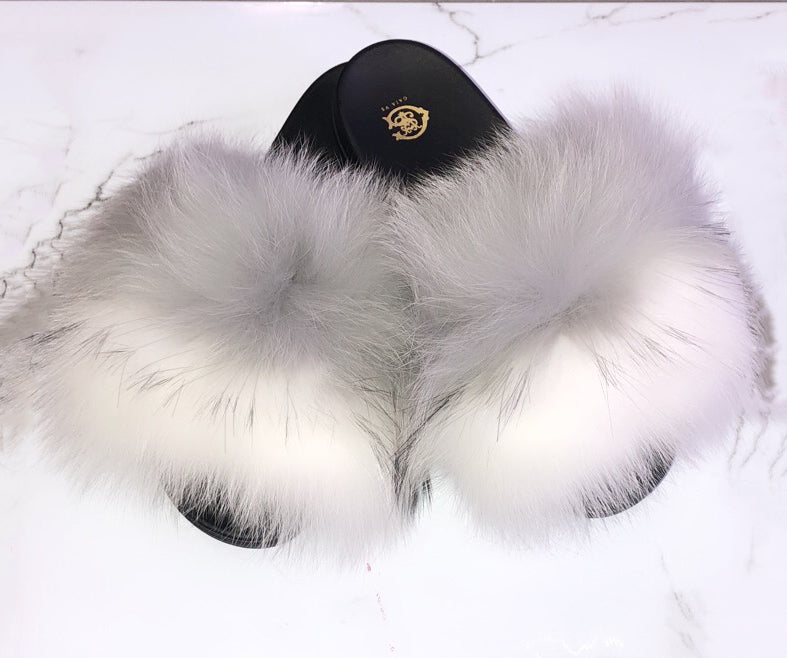 Grey Split Fox Fur Slides