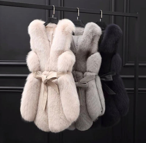 Pure Grey Fox Fur Slides