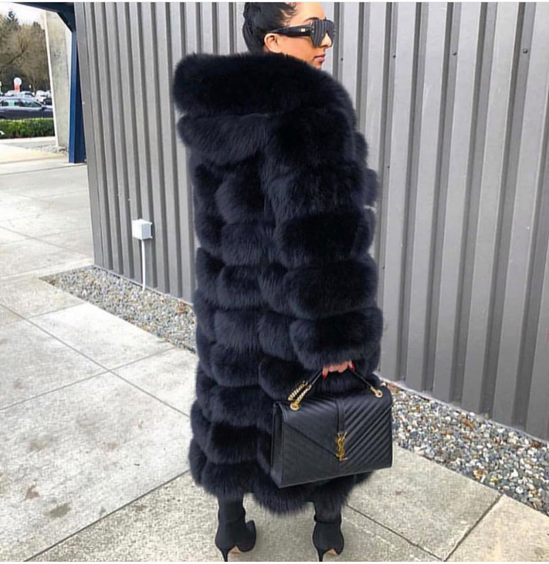 LUXE Long Fox Fur Hooded Coat