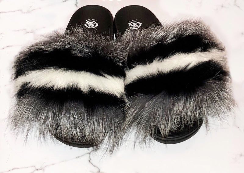 Silver Fox Fur Stripe Slides