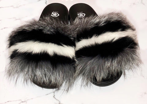 Cherry Red Fox Fur Slides
