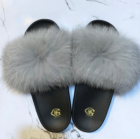 Silver Fox Fur Slides