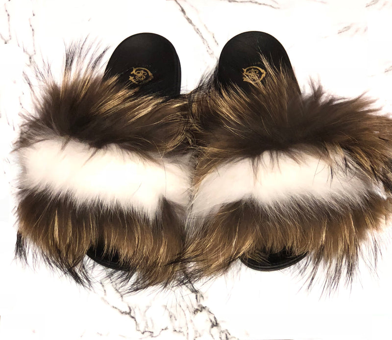 Raccoon Stripe Fur Slides