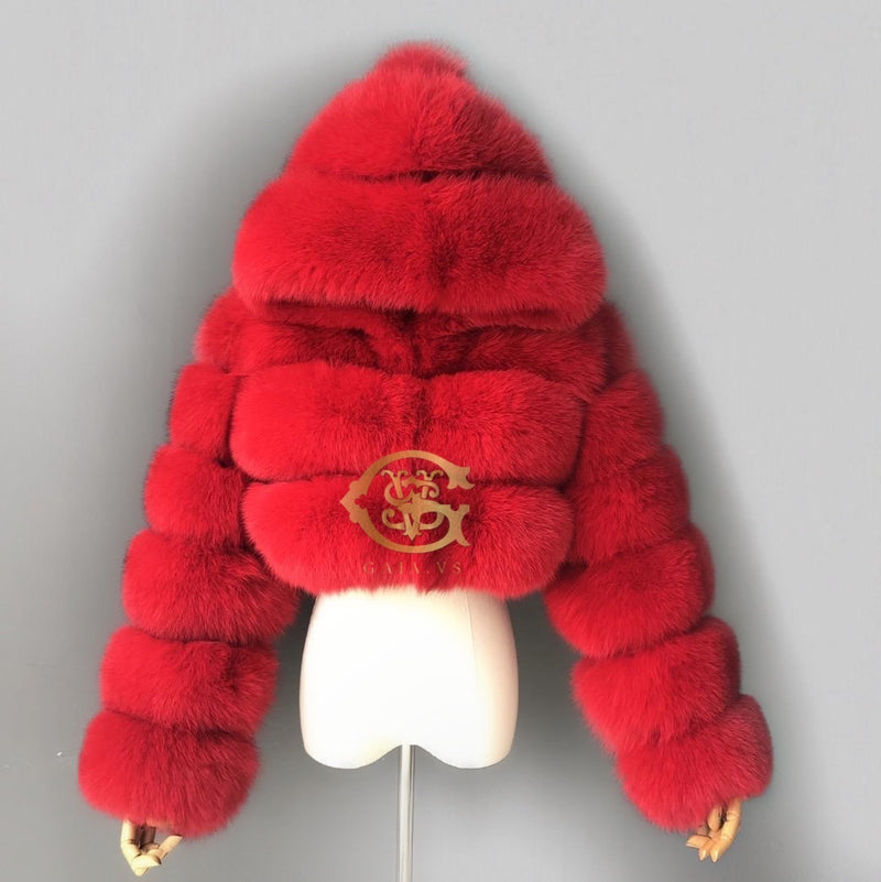 Crop Fox Fur Hood Bomber
