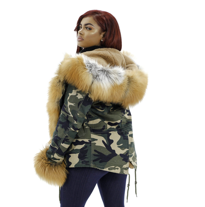 Camouflage VS Red Fox Fur Parka