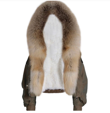 Military Waist Fox Fur Parka