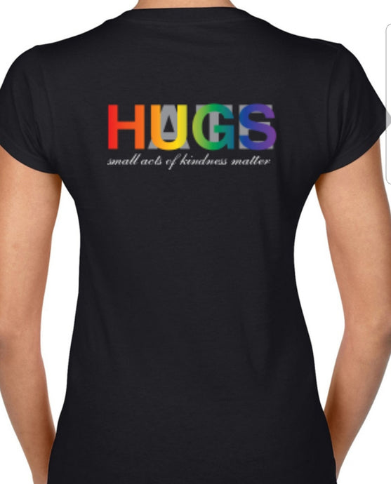 Rainbow Hugs Over Hate Ladies V-Neck T-Shirt - LivKind CBD Wellness Gifts