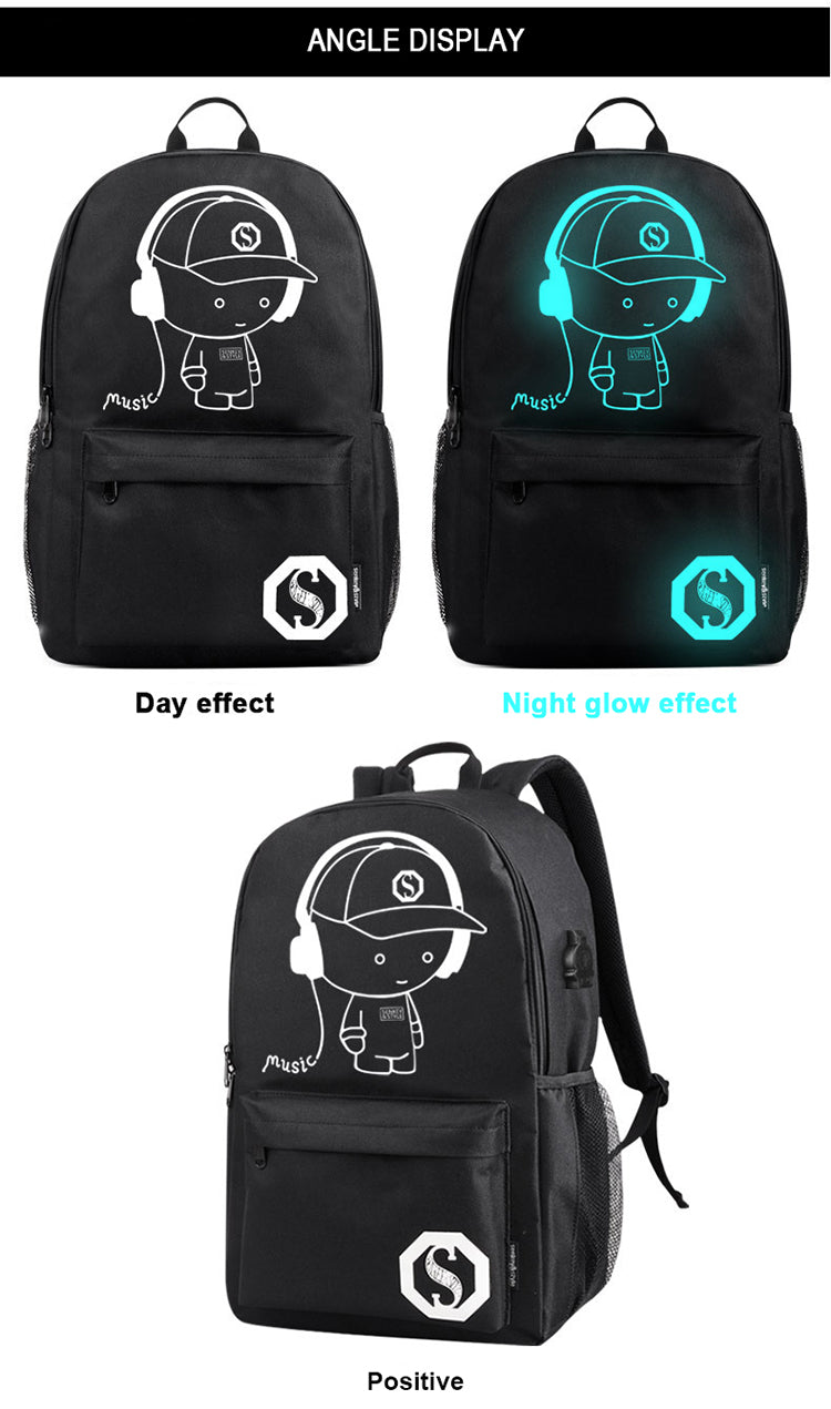 Luminous glow in the dark usb charging anime backpack anti theft laptop bag
