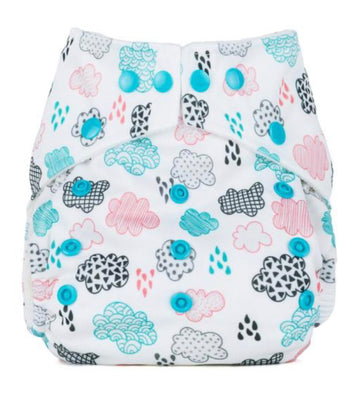 One Size Reusable Nappy - Rainy Days