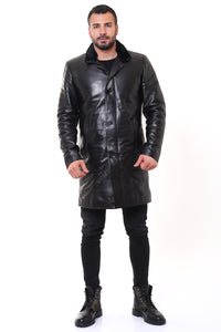 Tyler Leather Trench Coat