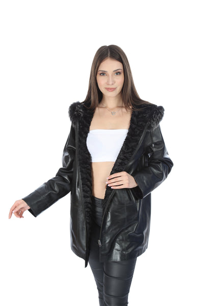 Sanyu Women Reversible Leather Coat