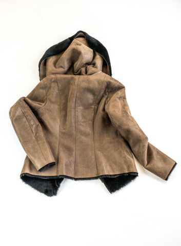 Lonicera Japonica Leather Coat