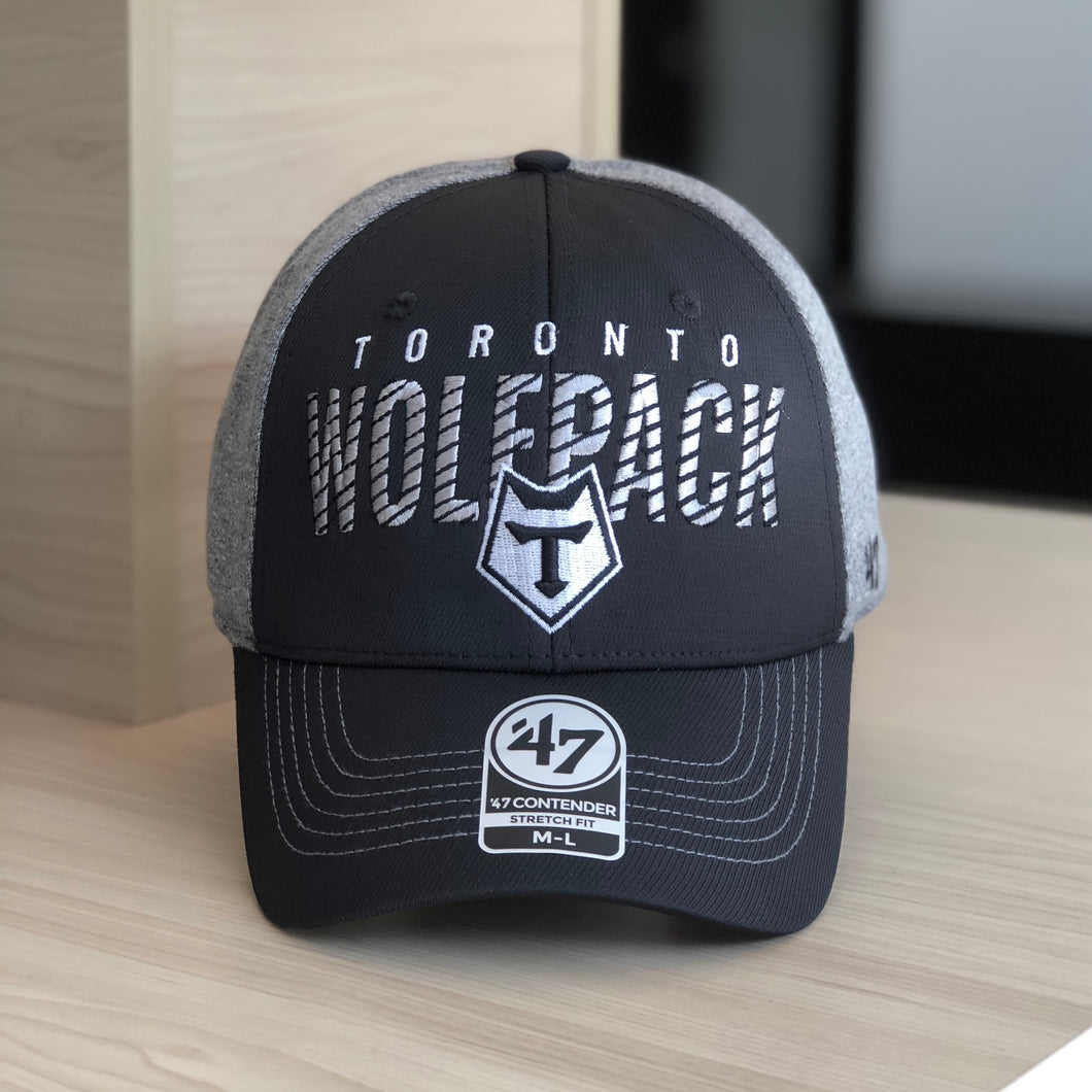 47 Brand Black and Grey Fitted Fullback Cap