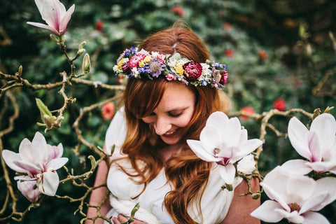Dried flower crown on beautiful mama for maternity photo shoot.